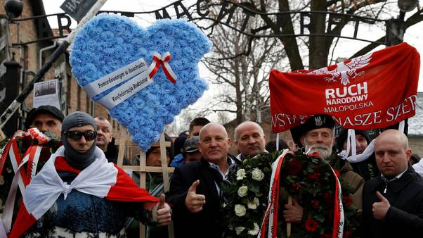 Far right protest during Auschwitz camp liberation commemoration
