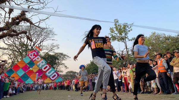 Stiletto races and hula hoops at Pride festival in Myanmar