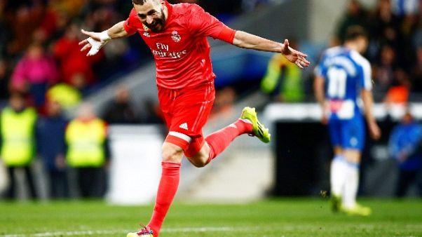 Spagna, doppio Benzema,Real Madrid vince