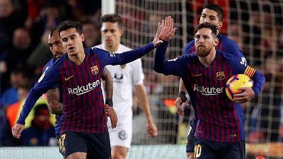 Show al Camp Nou,Barcellona-Valencia 2-2
