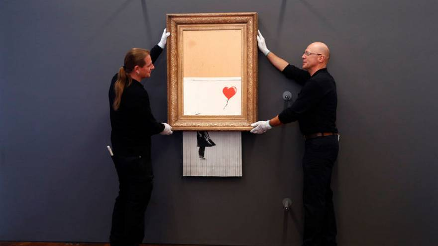Self-shredding Banksy painting goes on display in Germany