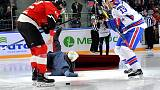 Mourinho takes a tumble at Russian ice hockey game