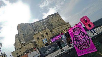 8 marzo, striscione contro legge Pillon