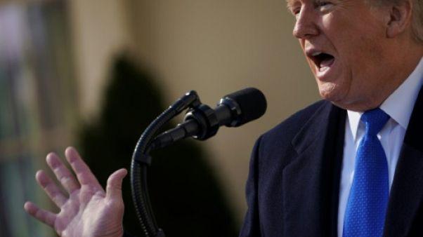 Donald Trump dans la roseraie de la Maison Blanche vendredi 15 février