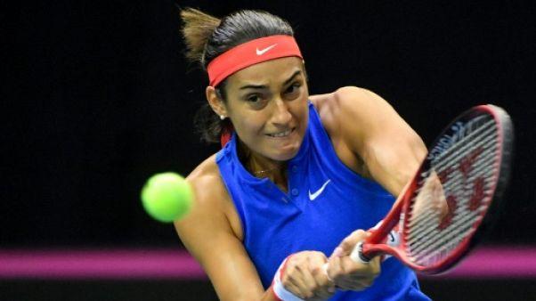 La Française Caroline Garcia lors de la Fed Cup à Liège le 10 février 2019