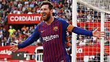 ميسي يسجل الثلاثية رقم 50 في مسيرته ويقود برشلونة للفوز على اشبيلية