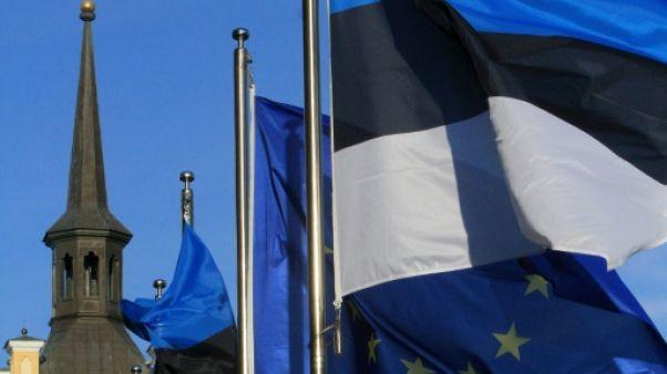Les drapeaux européen et estonien à Tallinn, le 29 juin 2017