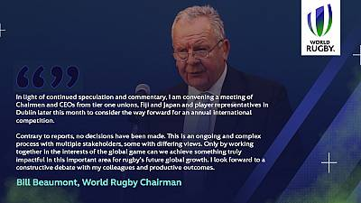 Statement from World Rugby Chairman Sir Bill Beaumont on the ongoing discussions relating to World Rugby's World League concept