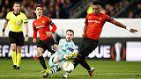 10-man Arsenal slump in Rennes, Sevilla held