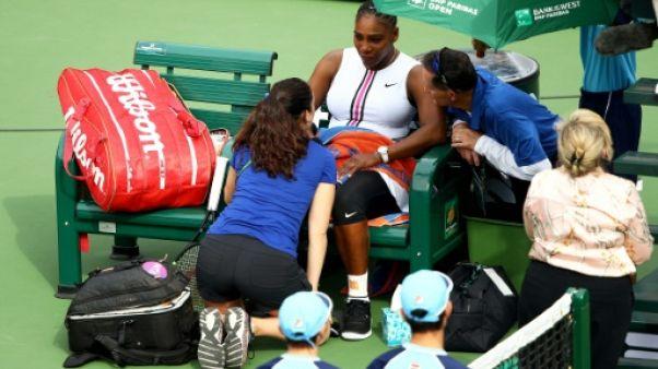 WTA: Serena Williams contrainte à l'abandon à Indian Wells