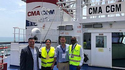 L'ambassadeur de France visite le porte-conteneurs CMA-CGM Opal