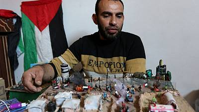 Gaza border protests provide artist with inspiration, and raw materials