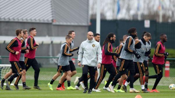 Les joueurs belges à l'entraînement, le 19 mars 2019 à Tubize en Wallonie