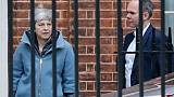 Theresa May quitte le 10 Downing Street à Londres, le 21 mars 2019