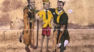 Murale a Roma con Conte, Di Maio,Salvini