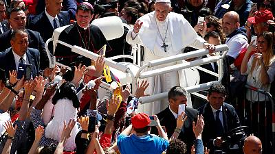 Pope visits Italy's 'flying house' to sign papal document