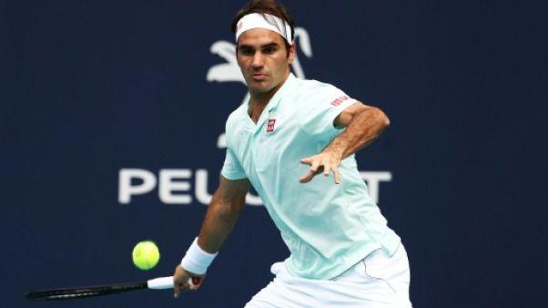 Tennis: Federer se rassure au 3e tour à Miami