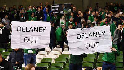 Football: Ireland fans throw tennis balls to disrupt Euro qualifier