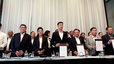 Thailand's opposition parties form alliance, demand junta step aside