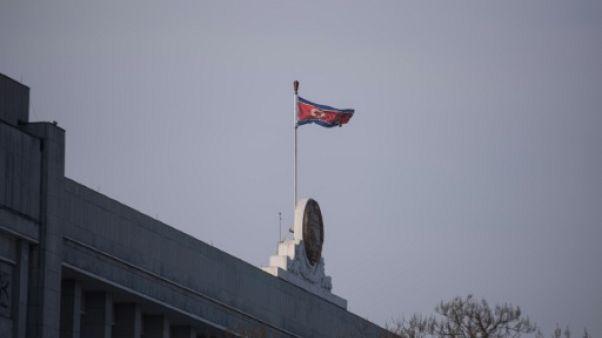 Le drapeau nord-coréen, le 9 mars 2019 à Pyongyang