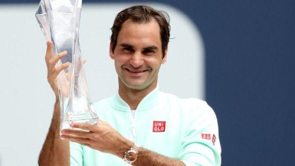 Classement ATP: Federer, vainqueur à Miami, récupère la 4e place