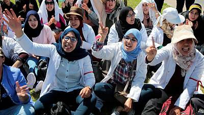 Hundreds of Moroccan teachers protest for job security