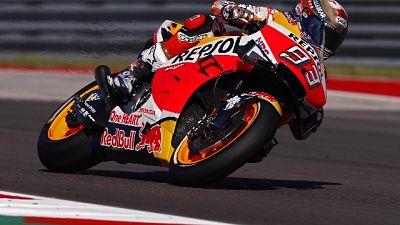 Moto: Americhe,Marquez cade,Rossi è 1/o