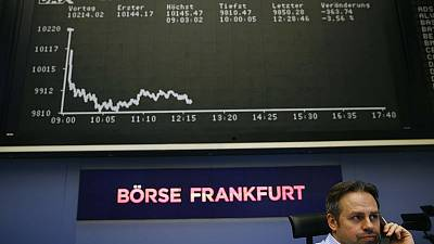 European shares ease from eight-month high as miners weigh