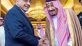 رئيس وزراء العراق يجتمع بالملك سلمان في أول زيارة له للسعودية