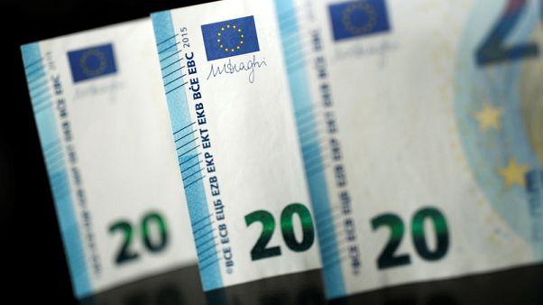 Euro buoyant on improved economic views, awaits euro zone PMI