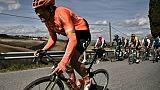Le Belge Greg Van Avermaet (g) lors de la Strade Bianche le 9 mars 2019