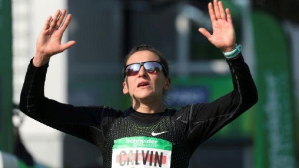 La Française Clémence Calvin lors du marathon de Paris le 14 avril 2019