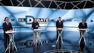 In Spanish election debate, Sanchez snubs Ciudadanos as tempers fray