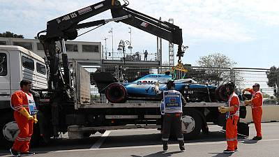 Loose drain cover wrecks Russell's Williams in Baku practice