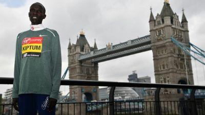 Le marathonien kényan Abraham Kiptum à Londres le 24 avril 2019