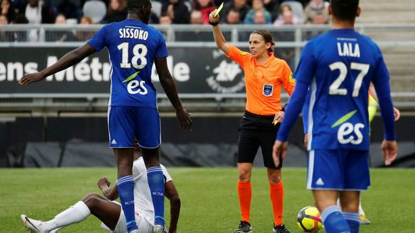 Frappart becomes first female referee to officiate in Ligue 1