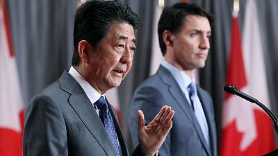 Canadian and Japanese leaders tout benefits of Pacific trade deal that Trump abandoned