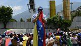 Manifestants anti-gouvernementaux le 1er Mai à Caracas
