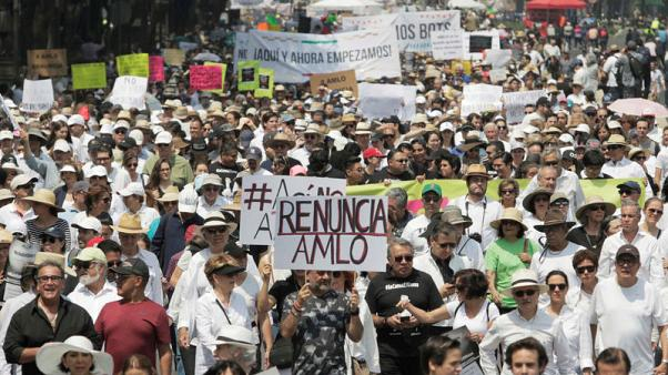 Thousands march in protest against Mexico's president