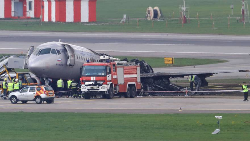 Russian airport fire crews mobilised a minute after jet crash-landed