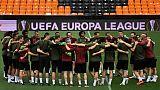 Les joueurs d'Arsenal à l'entraînement, le 8 mai 2019 à Valence