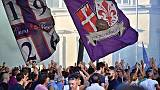 Flash mob tifo viola contro Della Valle