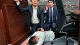 Hong Kong legislators brawl over contentious extradition law