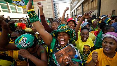 South Africa's ANC celebrates election victory in downtown Johannesburg