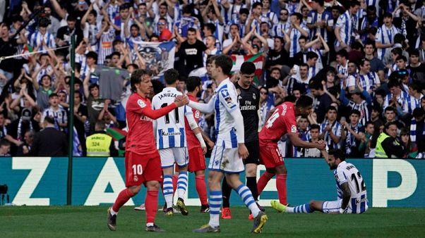 10-man Madrid's woes continue with Sociedad defeat