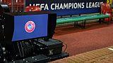 Un logo de l'UEFA, le 12 février 2019 à Manchester