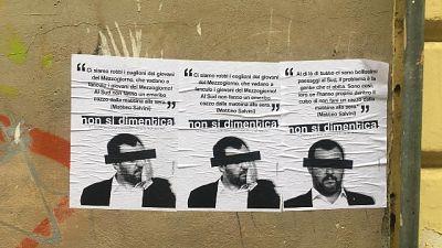Salvini a Foggia, manifesti di protesta