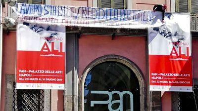 Protesta disoccupati in Palazzo Arti