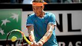 L'Espagnol Rafael Nadal lors des quarts de finale à Rome le 17 mai 2019