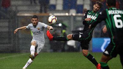 Sassuolo-Roma 0-0 sotto la pioggia